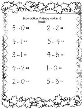 Subtraction Fluency K.OA.5 Bundle