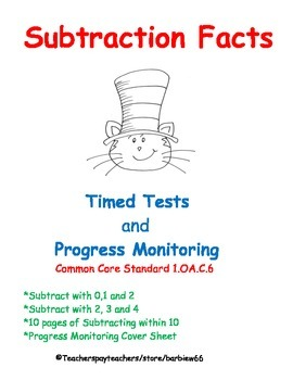 Subtraction Fluency:  Subtract within 10 Timed Tests  Prog