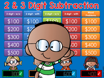 Subtraction GAME SHOW - 2 & 3 digits 2nd Grade
