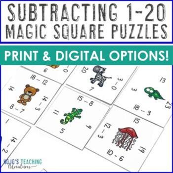 Subtraction Magic Square Puzzles Math Center Games