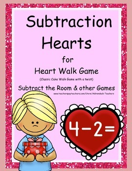 """Subtraction Hearts """"Cake Walk Style""""  Write the Room and o"""