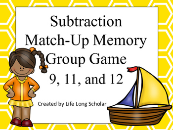 Subtraction Match Up Memory Game 9,11,12
