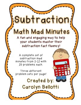 Subtraction Math Mad Minutes: Math Fact Fluency Tool