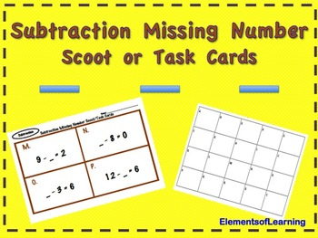 Subtraction Missing Number Scoot/Task Cards