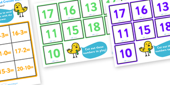 Subtraction Noughts and Crosses to 20