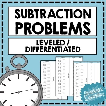 Subtraction Quick Number Facts Problems Practice - Differe
