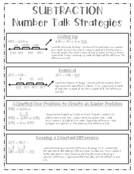 Subtraction Number Talks Strategy Chart