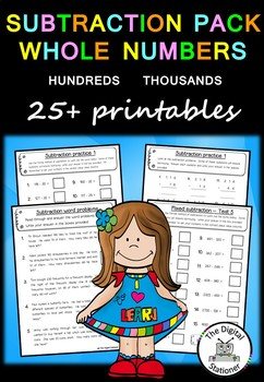 Subtraction Pack Whole Numbers (Tens, Hundreds and Thousan