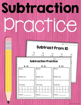 Subtraction Practice - Number Lines, 100 Charts, Ten Frame