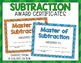 Subtraction Fact Punch Cards, Certificates, Reward Bracele