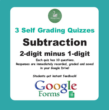 Subtraction Quiz - 2-Digit minus 1-Digit Numbers (Google Forms)