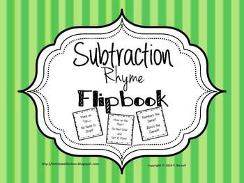 Subtraction Rhyme Cut and Paste Activity (With and Without
