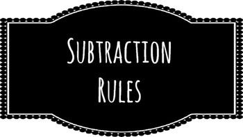 Subtraction Rules Posters-chalkboard