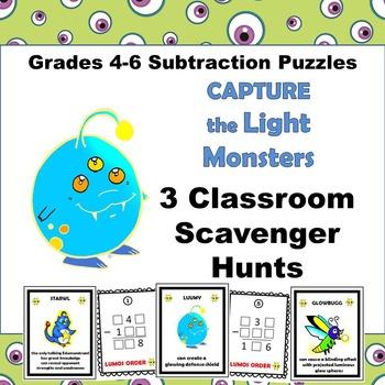 Subtraction Scavenger Hunts Logic Puzzles grades 4-6