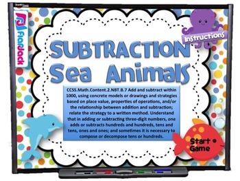 Subtraction Sea Animals Smart Board Game (CCSS.2.NBT.B.7)
