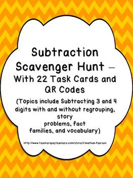 Subtraction Skills Scavenger Hunt - 22 Task Cards with QR Codes