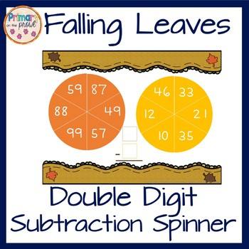 Subtraction Spinner featuring 2 digit subtraction without