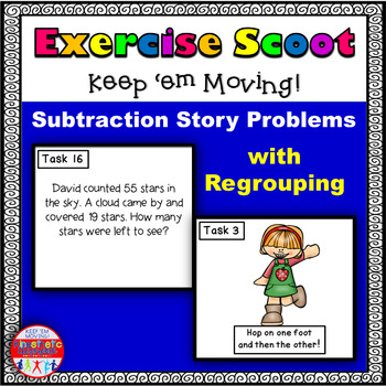 Subtraction Story Problems With Regrouping: Math Task Card