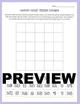Subtraction Strategy Game: Count Back Three Bingo - Mental