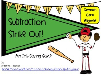 Subtraction Strike Out Baseball Themed Ink-Saving Game & W