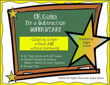 Subtraction Task Cards {QR Codes}: 2 Digit by 2 Digit With