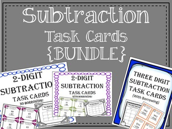 Subtraction Task Cards {Bundle} One Digit and Two Digit. M