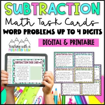 Subtraction Task Cards { Word Problems up to 1,000 }