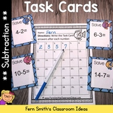 Subtraction Task Cards and Recording Sheet - Brightly Colo