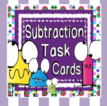 Subtraction Sums Task Cards ~ with and without trading / r