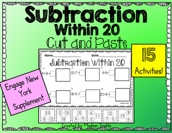 Subtraction Within 20: Cut and Paste Pack. Engage New York Supplement. Created by Meghan Snable. Available on TpT.