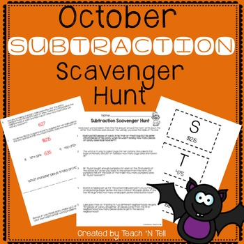 Subtraction Word Problem Scavenger Hunt