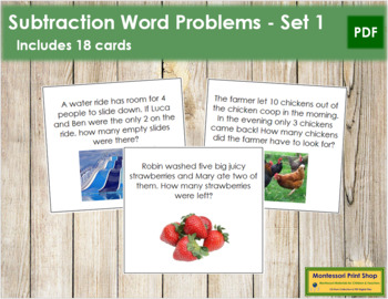 Subtraction Word Problems - Level 1