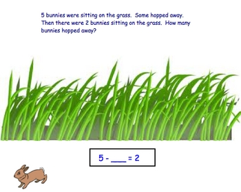 Subtraction Word Problems Start and Change Unknown through 10