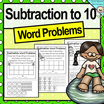 Subtraction Word Problems - Subtraction to 10 - Cut and Pa