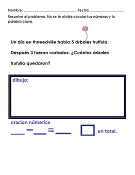 Subtraction Word Problems Theme of The Lorax/ Problemas es