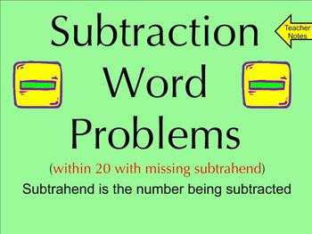 Subtraction Word Problems Within 20 With Missing Subtrahen