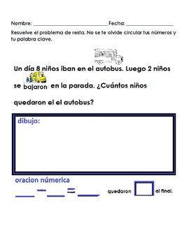 Subtraction Word Problems/Problemas escritos de resta