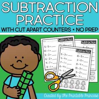 Subtraction Worksheets With Counters by The Printable Princess ...