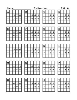 Subtraction Worksheets with Grids