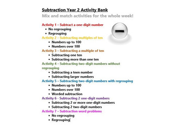 Subtraction Year 2 Activity Bank (Differentiated)