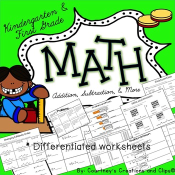 Subtraction and Addition to go with GO MATH Kindergarten 81 Pages