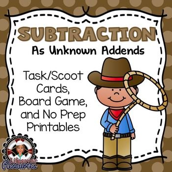 Subtraction as Unknown Addend Game and Printables