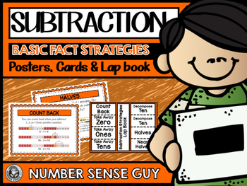 Subtraction basic fact strategy posters, cards, and lapbook
