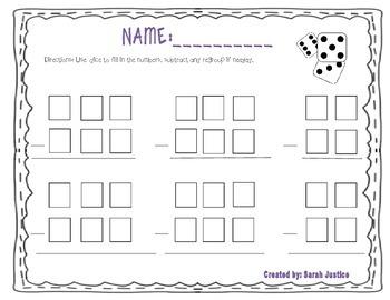 Subtraction dice activity