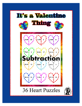 Subtraction for Valentine's Day ~ Holiday Fun ~ 36 - 2 pie