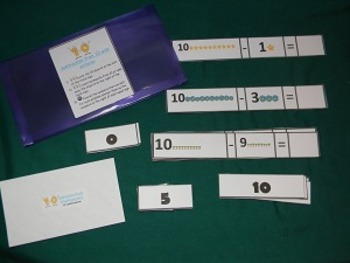 Subtraction from 10 with pictures Math Center- Hard Good