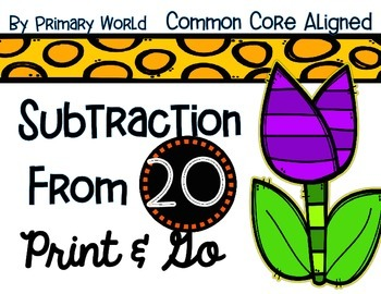 Subtraction from 20 Common Core Activities Spring Theme