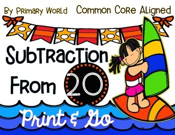 Subtraction from 20 Common Core Activities Summer Theme
