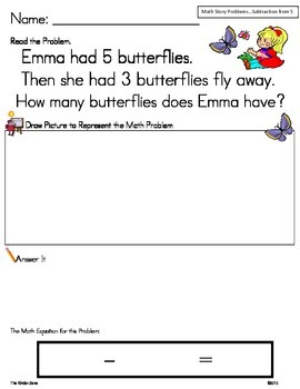 Subtraction from 5 Math Word Problem Set *Insects* Read,Dr