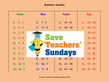 Subtraction lesson plans, worksheets and more